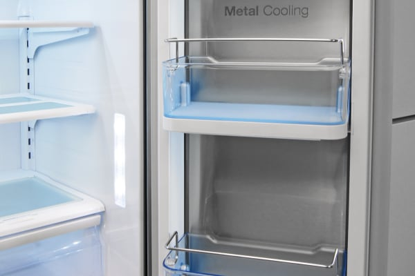 Adjustable metal bars on the Samsung RF23HTEDBSR's large door-in-door shelves makes it easy to store both small and larger items here.