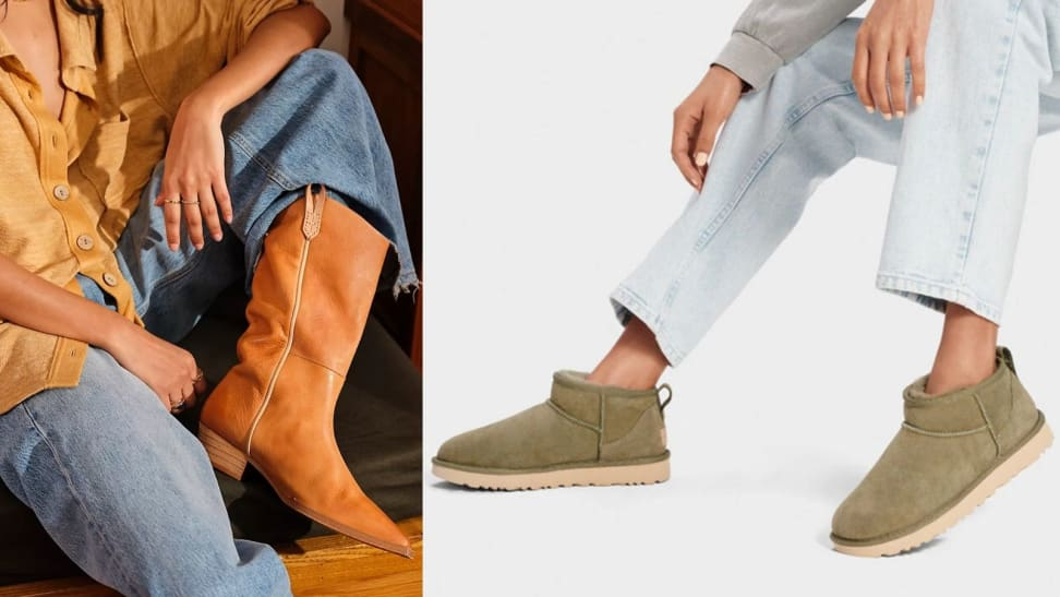 Left: Relaxed chestnut cowboy boot; Right: Ultra mini olive green Uggs