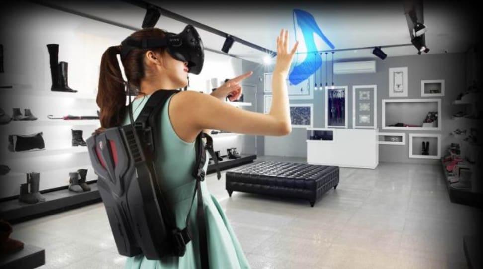 You can wear MSI's VR One like a backpack.