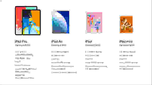 Apple iPad Lineup Comparison Chart