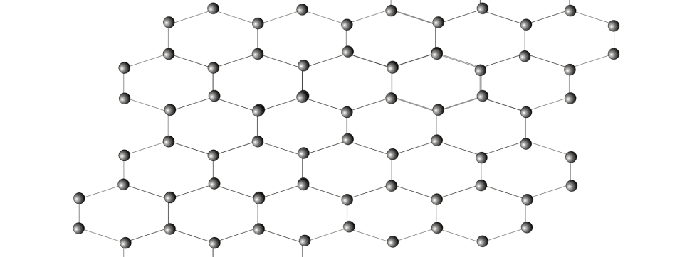 An illustrated atomic array of graphene.