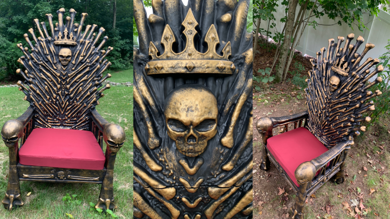 Different angles of the Bone Throne chair outdoors on grass.