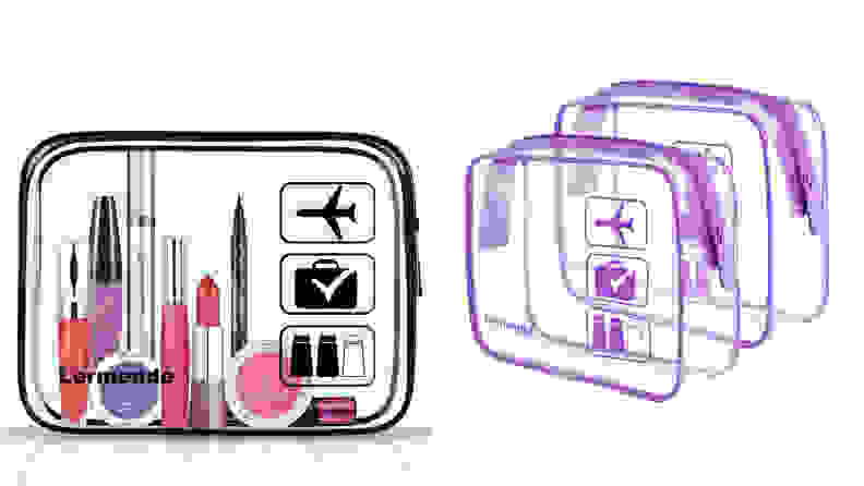 On the left: A transparent cosmetic bag from Lermende sits with beauty products inside of it. On the right: Two transparent bags from Lermende are sitting side by side empty.