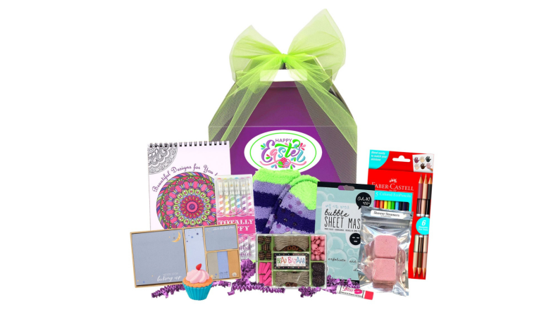 A spa-themed Easter basket with face masks, fuzzy socks, and more.