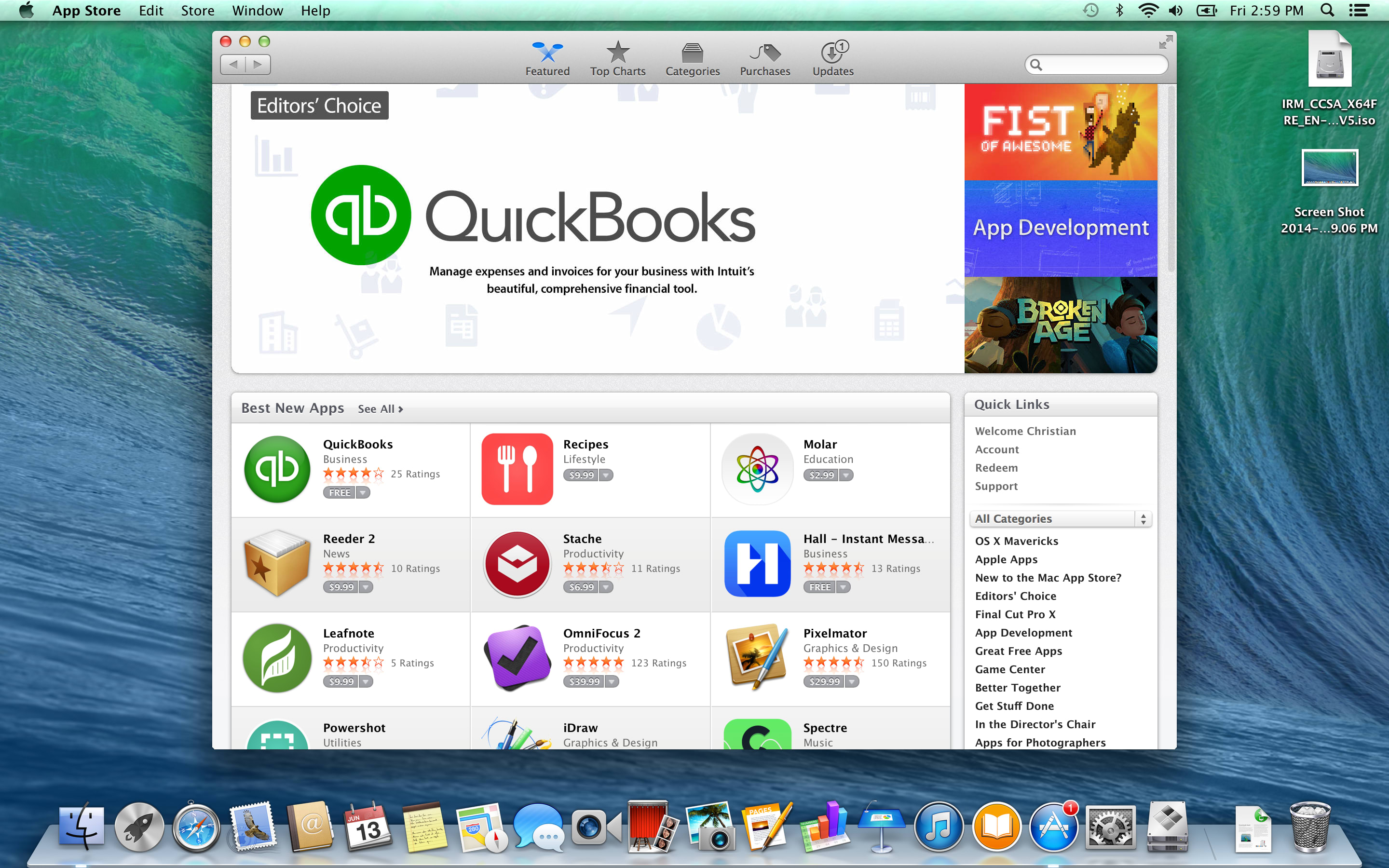 A screenshot of the Apple MacBook Pro with Retina Display's App Store.