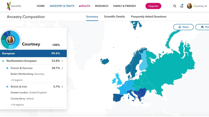Interactive map of countries on 23andMe website.