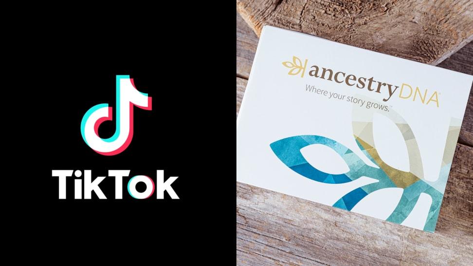 Left: TikTok logo on black background, Right: Ancestry DNA kit on wood table