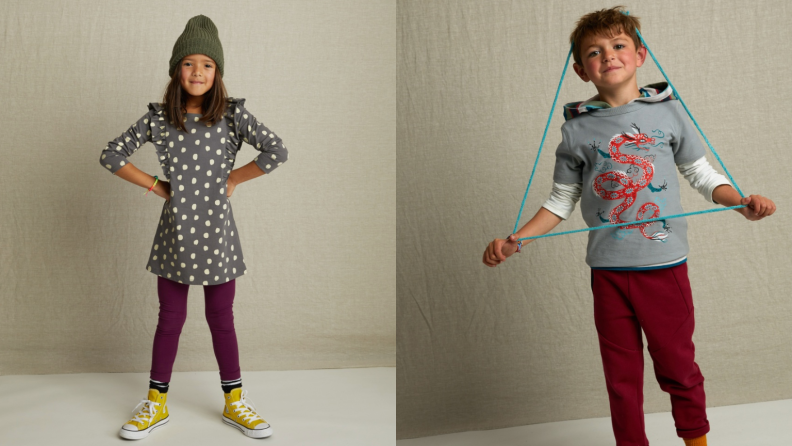 On the left: A girls stands with her hands on her hips and smiles to the camera. On the right: A boy has a jumprope on his head.