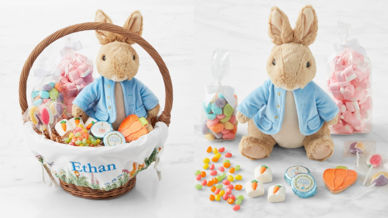 A white wicker Easter basket with a stuffed Peter Rabbit and candy