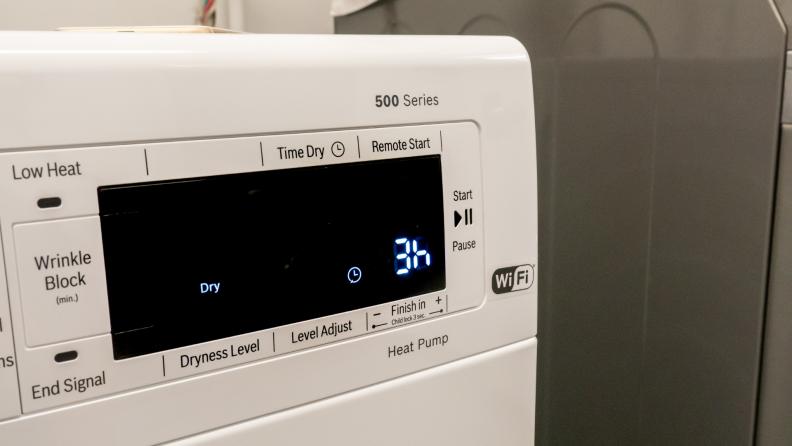 Dryer screen display reading 3 hours