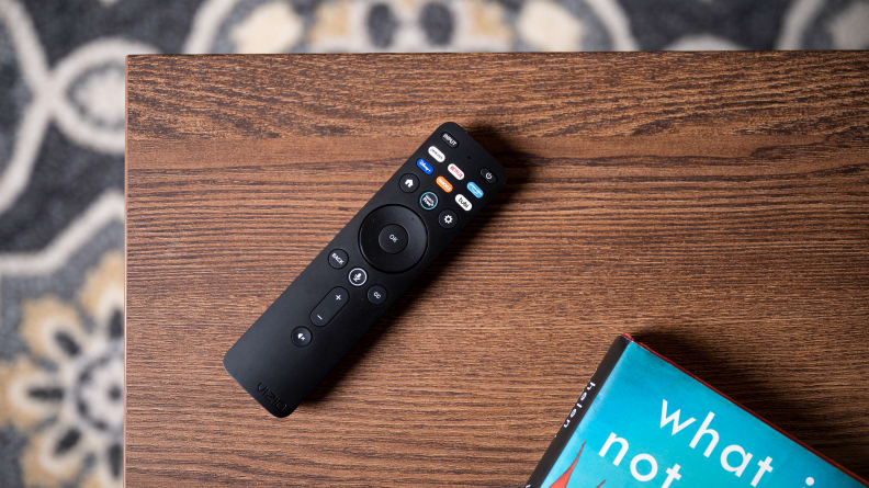 The remote control for the 2021/2022 Vizio TV lineup, as seen up close