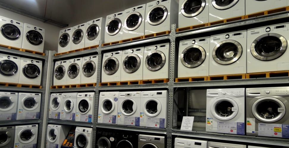 Washers on store shelving