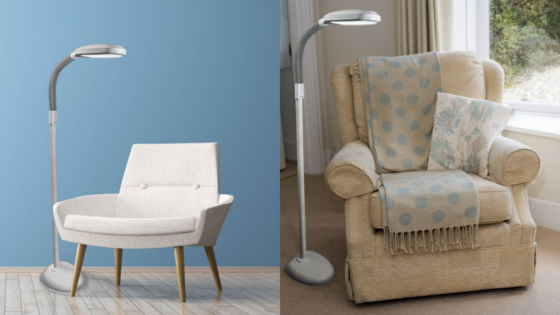 A Verilux floor lamp sits in a living room next to a chair.