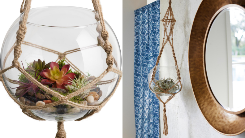 A glass bowl is held by a macrame plant hanger.