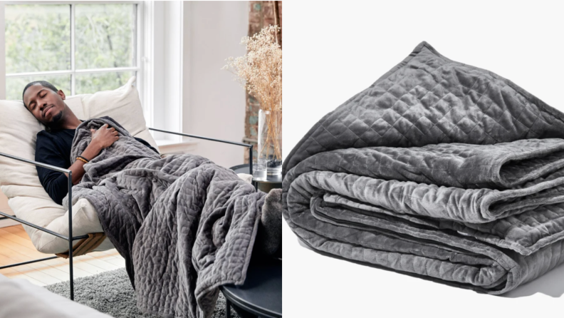 On left, man reclining in chair napping with gray gravity blanket. On right, product shot of folded gray gravity blanket.