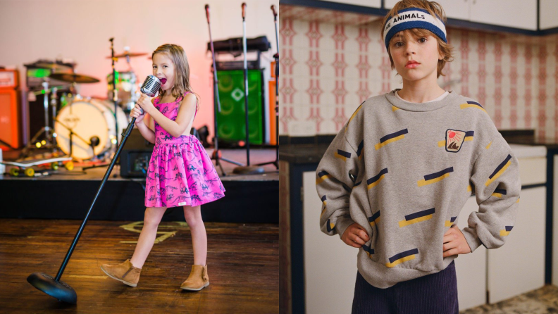 On the left: A young girl wearing a bright pink dress singing into an old fashioned microphone. On the right: A tween boy wearing a grey sweatshirt and a sweatband standing with his hands on his hips
