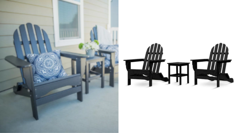 an Adirondack chair on a porch, next to a black Adirondack chair set, including a small table