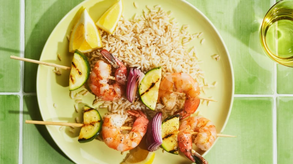 Barbecue shrimp on a plate of rice