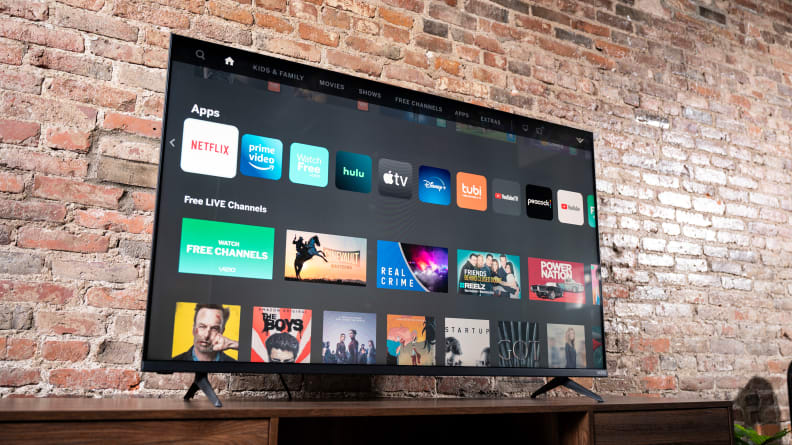 The Vizio M-Series MQ6 displaying its home screen in a living room setting