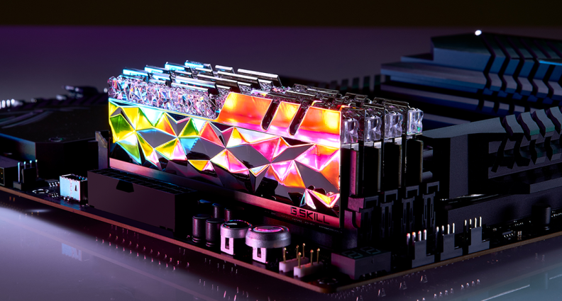 Computer memory lit up with RGB lights