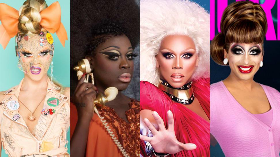 Close up portraits of Drag Race stars Willam, Bob the Drag Queen, RuPaul, and Bianca Del Rio.