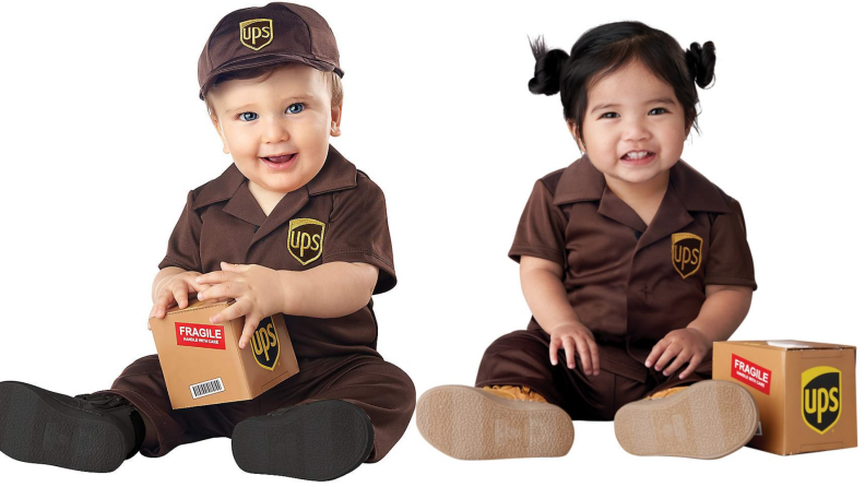 Infants dressed in UPS delivery driver Halloween Costume.