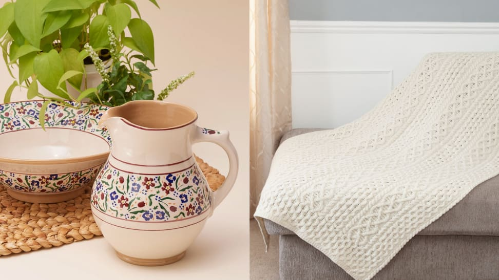 Left: hand-painted jug next to hand-painted bowl plate and plant; Right: cashmere and aran knit throw blanket in cream color on grey couch