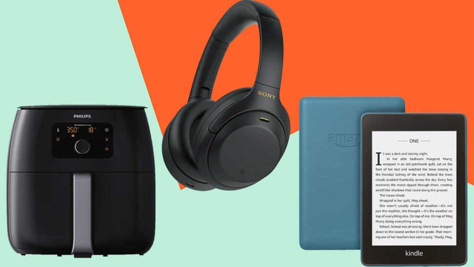 air fryer, black headphones and an e-reader on a colorful background.