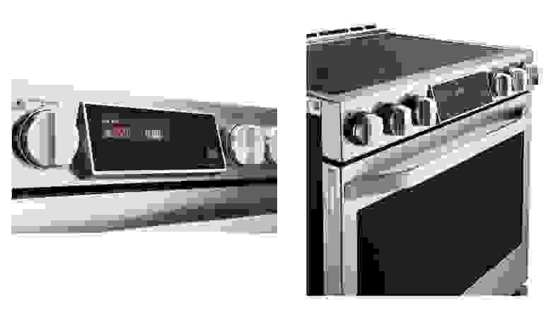 A side by side image of the control panel and knobs for an electric range.