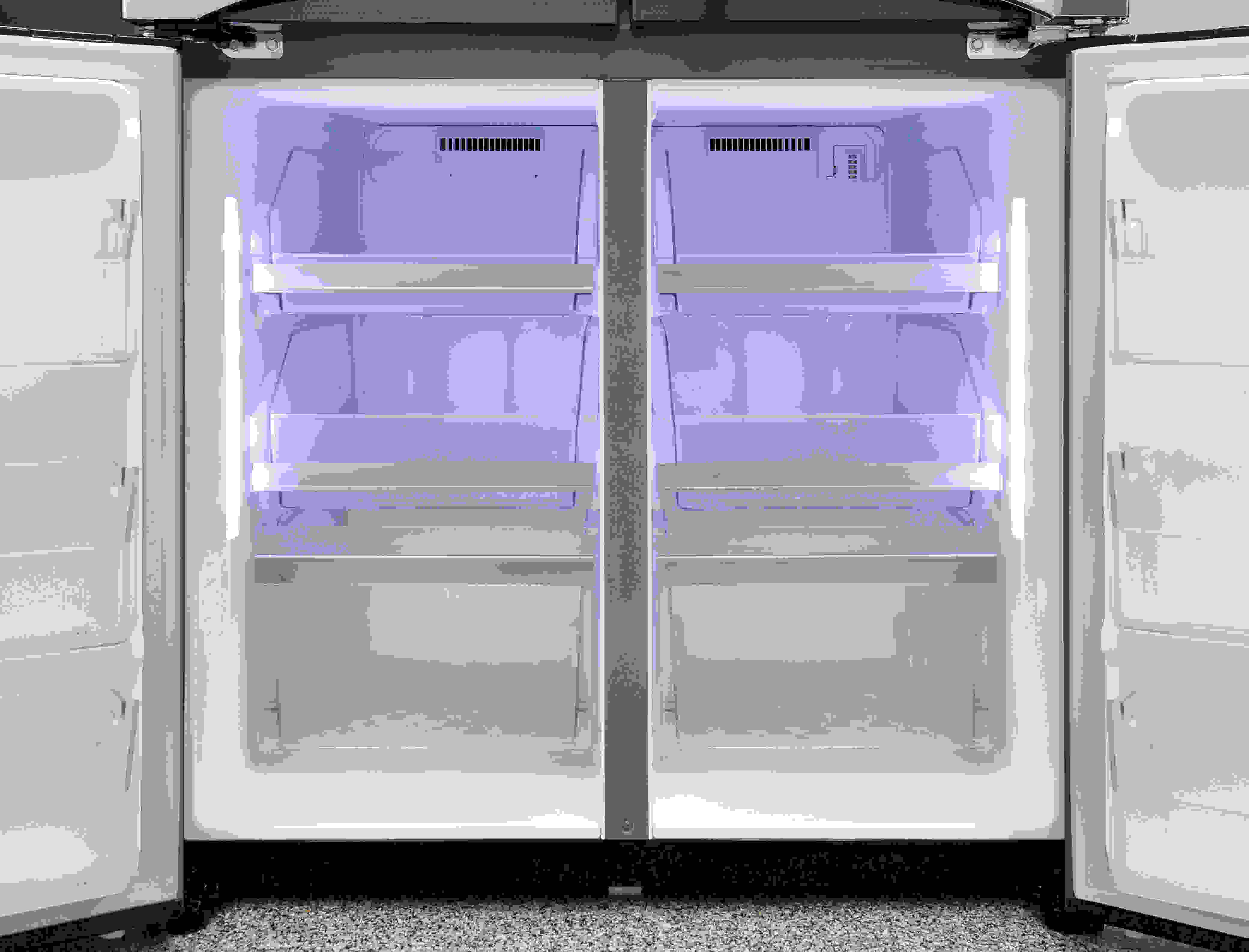 The LG LPXS30866D has matching freezer compartments, but neither of them offers adjustable temperature settings.