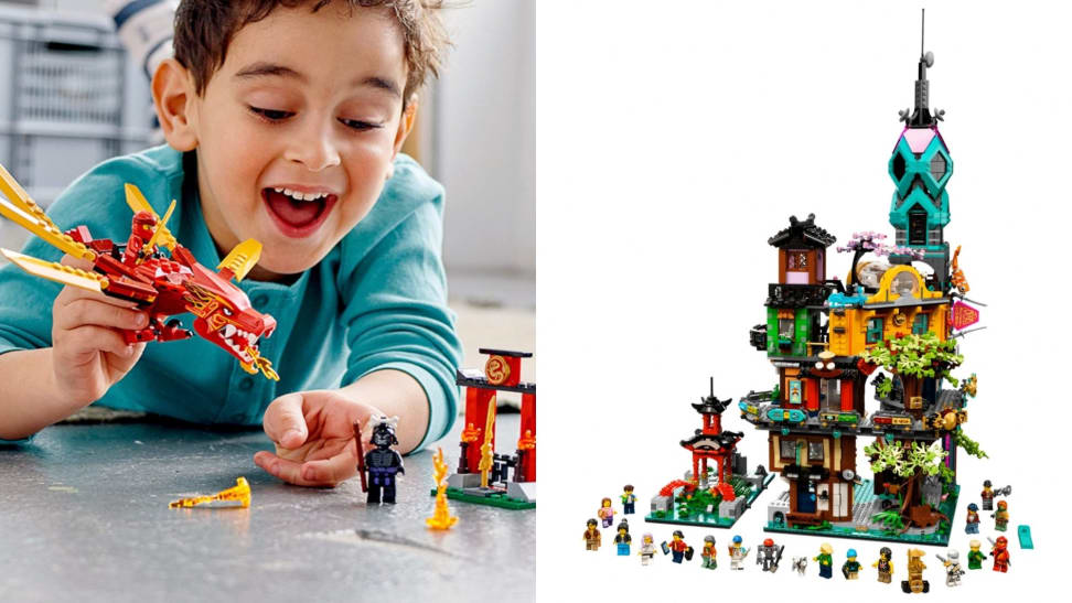 One one side a child plays with a Lego Ninjago set that's a Ninjago dragon. On the other is the five-level Ninjago City Gardens delux set. l