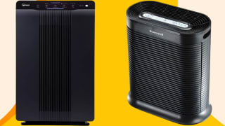 Winix and Honeywell air purifiers against a yellow background.