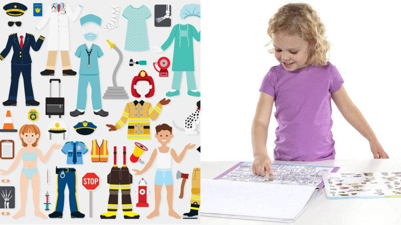 On left, children's stickers with different professions. On right, young child pasting stickers into book.