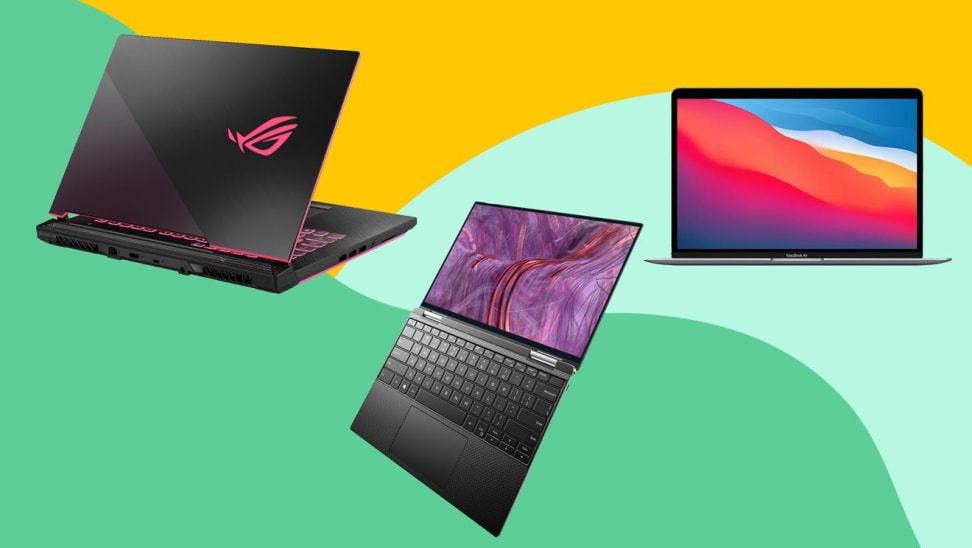 An ASUS ROG Strix G15 Gaming Laptop, a Dell XPS 13 2-in-1, and an Apple MacBook Air