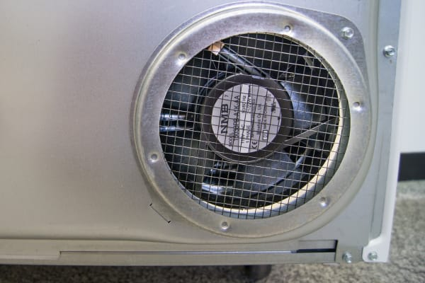 The Whirlpool Duet WED99HEDW's small fan in the back blows out far less air than a conventional dryer.