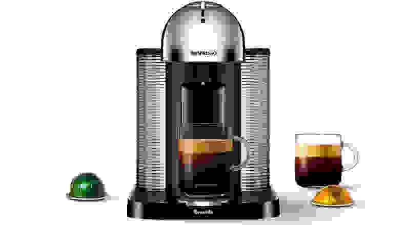 A silver Nespresso Vertuo single-serve coffee maker.