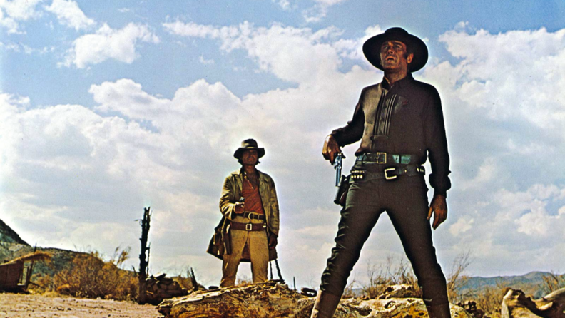 Charles Bronson confronts Henry Fonda in 'Once Upon a Time in the West.'