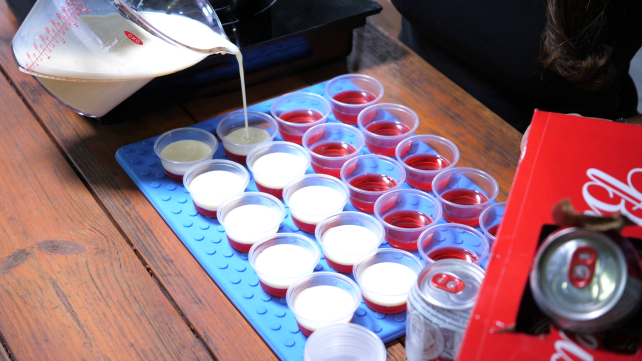 Pouring white Jell-O