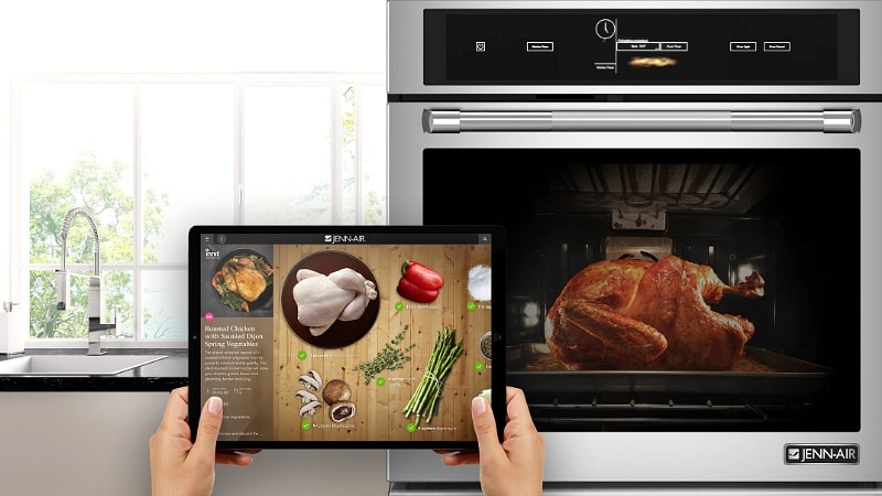 A Jenn-Air WiFi oven cooks a turkey through a tablet app