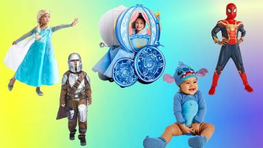 Elsa, the Mandalorian, Cinderella, Spider-Man, and Stitch Halloween costumes