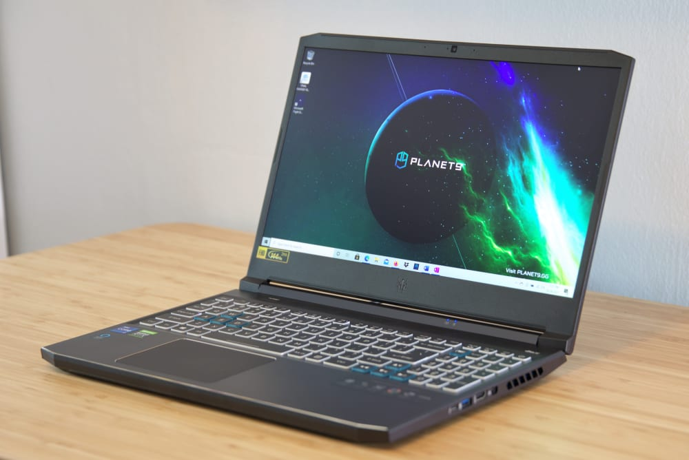 Acer's Predator Helios 300 open on a desk.