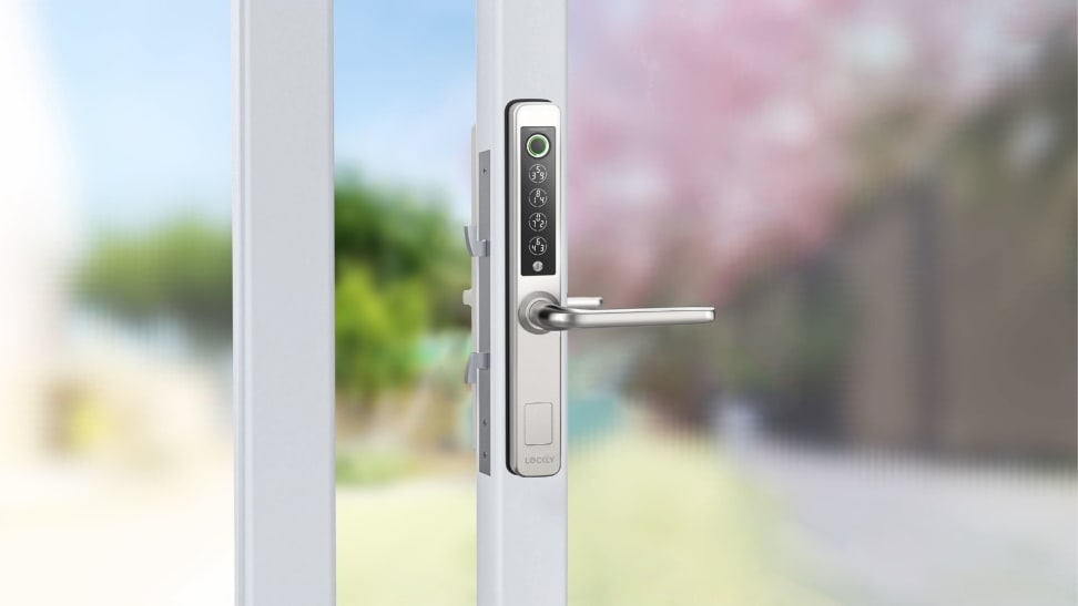 Lockly Guard installed on glass swing door