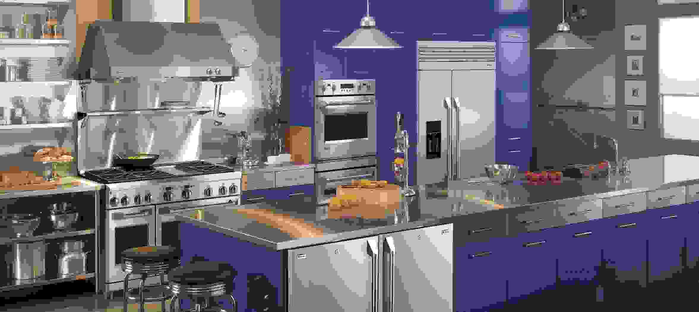 A striking blue design using GE Monogram professional appliances.