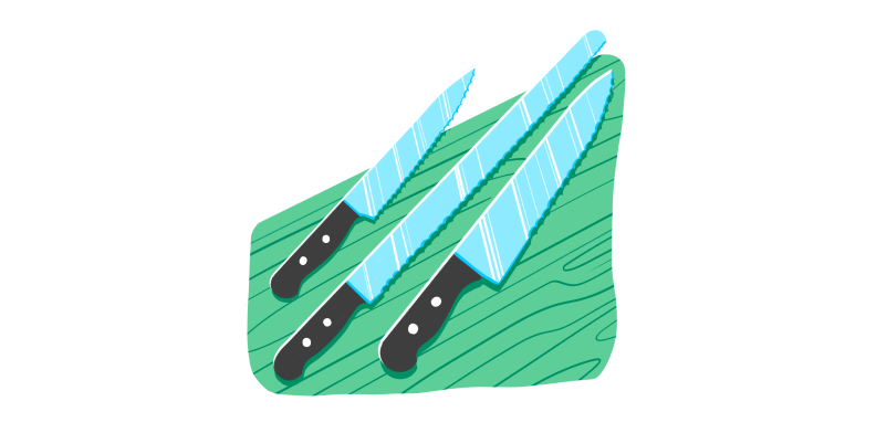 An illustration of three knives arranged on a wood cutting board.