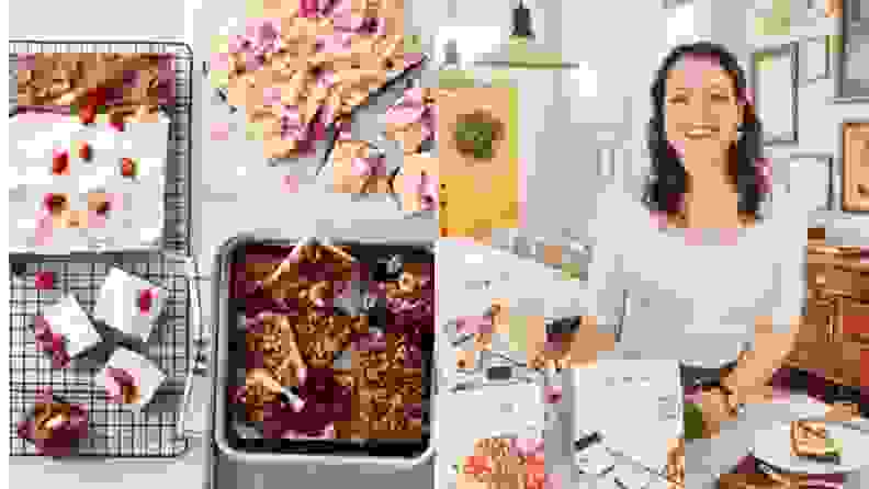 Left: A top-down photo of three different cakes arranged on a marble counter. Right: Joy Wilson, founder of Joy the Baker, poses next to her lined of boxed cake mixes in her home kitchen.
