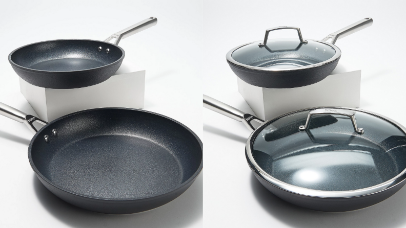 Two images of the same set of black nonstick pans. One image has the pans without the lid, and the other has the pans with the clear glass cover on top.