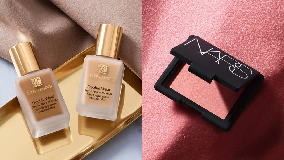 On left, two bottles of Estée Lauder foundation in different shades sitting on gold plate. On right, pink blush from Nars in front of pink background.