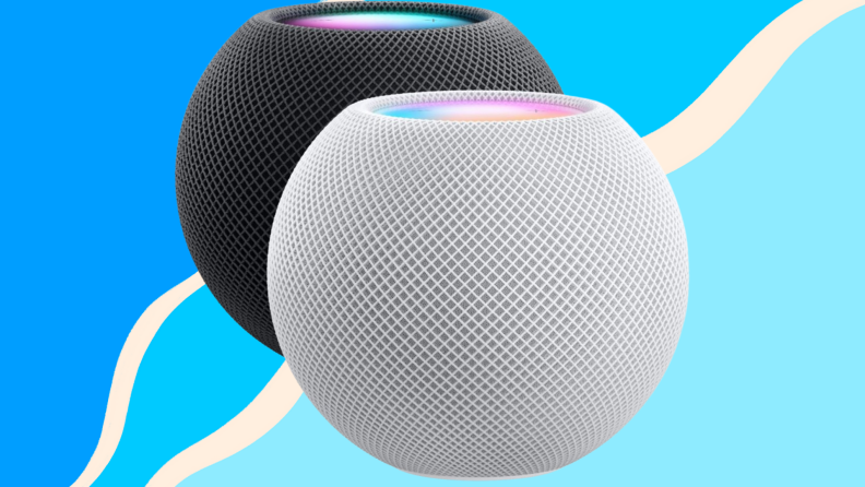Two Apple HomePod Minis against a blue background.