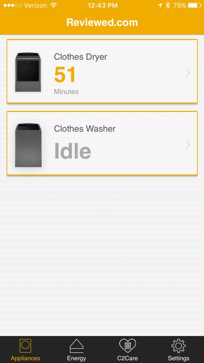 Whirlpool App appliance menu