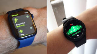 Two different images of someone wearing a smartwatch around their wrist